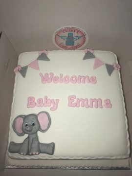 Baby girl decorated christening cake