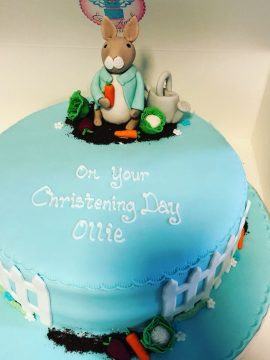 Bunny rabbit christening cake